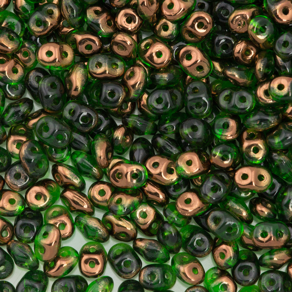 Super Duo 2x5mm Two Hole Beads Transparent Green Semi Bronze Luster 22g Tube (50050SBL)