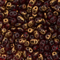Super Duo 2x5mm Two Hole Beads Siam Ruby Semi Bronze Luster 15g (90080SBL)