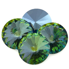 Four Swarovski Crystal 14mm 1122 Rivoli Green Citrine (001 CIT)