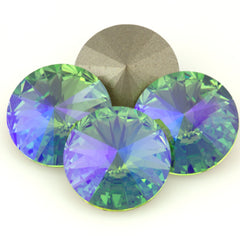 Four Swarovski Crystal 14mm 1122 Rivoli Peridot Glacier Blue (214 GB)