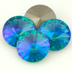 Four Swarovski Crystal 14mm 1122 Rivoli Light Turquoise Glacier Blue (263 GB)