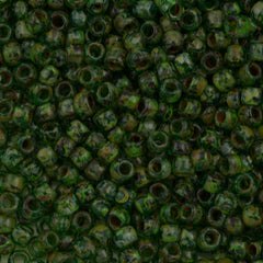 Toho Hybrid Round Seed Bead 6/0 Transparent Peridot Picasso 30g (Y318)
