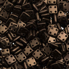 CzechMates 6mm Four Hole Quadratile Dark Bronze Beads 15g (14415)