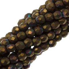 100 Czech Fire Polished 2mm Round Bead Matte Oxidized Bronze Clay (15768M)