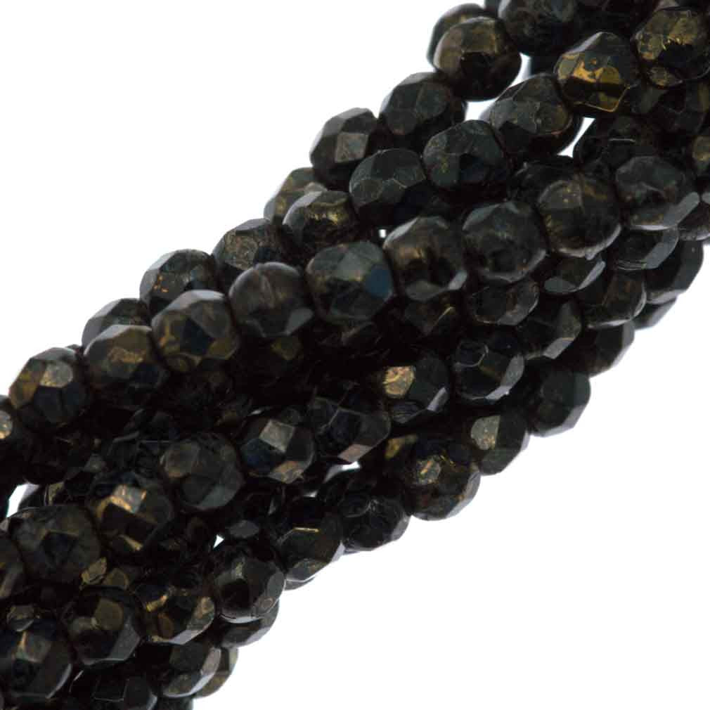 100 Czech Fire Polished 2mm Round Bead Jet Bronze Picasso (23980BT)