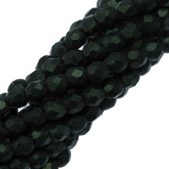100 Czech Fire Polished 2mm Round Bead Metallic Suede Dark Forest (79052)