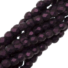 100 Czech Fire Polished 2mm Round Bead Metallic Suede Pink (79086)