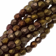 100 Czech Fire Polished 3mm Round Bead Matte Metallic Gold Iris (01610K)