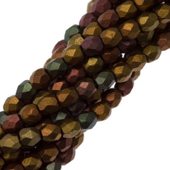 100 Czech Fire Polished 3mm Round Bead Matte Metallic Bronze Iris (01640K)