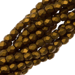 100 Czech Fire Polished 3mm Round Bead Matte Metallic Goldenrod (01730K)