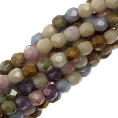 100 Czech Fire Polished 3mm Round Bead Opaque Luster Mix Color (10000P)