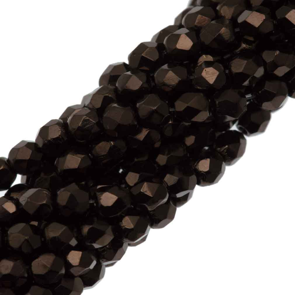 100 Czech Fire Polished 4mm Round Bead Chocolate Bronze (14435B)