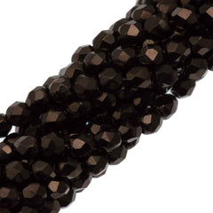 100 Czech Fire Polished 3mm Round Bead Chocolate Bronze (14435B)