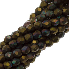 100 Czech Fire Polished 3mm Round Bead Matte Oxidized Bronze Clay (15768M)