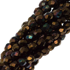 100 Czech Fire Polished 3mm Round Bead Bronze Vega Jet (23980Y)