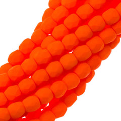 100 Czech Fire Polished 3mm Round Bead Neon Orange (25122)