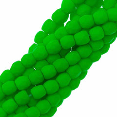 100 Czech Fire Polished 3mm Round Bead Neon Green (25124)