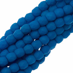 100 Czech Fire Polished 3mm Round Bead Neon Electric Blue (25127)