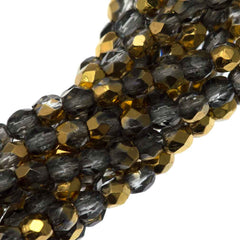 100 Czech Fire Polished 3mm Round Bead Gold 1/2 (26201)
