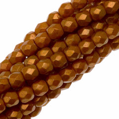 100 Czech Fire Polished 3mm Round Bead Halo Ethereal Sandalwood (29253P)