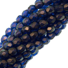 100 Czech Fire Polished 3mm Round Bead Halo Ultramarine (29264)