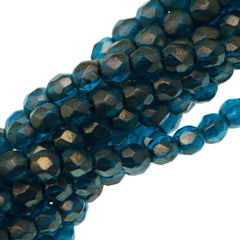 100 Czech Fire Polished 3mm Round Bead Halo Azurite (29266)