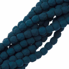 100 Czech Fire Polished 3mm Round Bead Saturated Navy (29530)