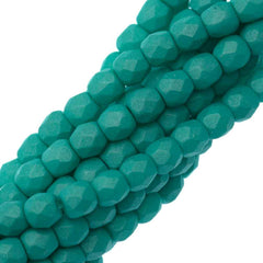 100 Czech Fire Polished 3mm Round Bead Saturated Teal (29569)