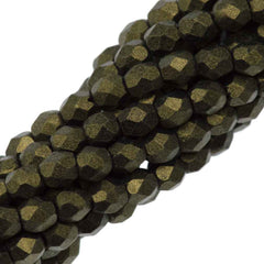 100 Czech Fire Polished 3mm Round Bead Metallic Suede Gold (79080)