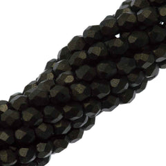 100 Czech Fire Polished 3mm Round Bead Metallic Suede Dark Green (79082)