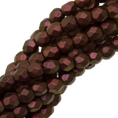 100 Czech Fire Polished 3mm Round Bead Polychrome Copper Rose (94100)