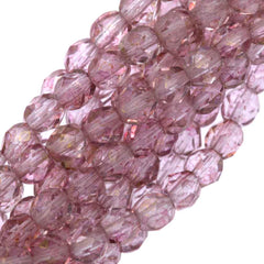 100 Czech Fire Polished 4mm Round Bead Transparent Topaz Pink Luster (15495)