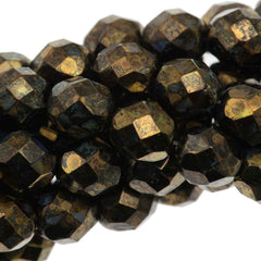 50 Czech Fire Polished 8mm Round Bead Metallic Gold Topaz (15695B)
