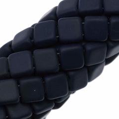 50 CzechMates 6mm Two Hole Tile Beads Matte Navy (33410M)