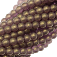 200 Czech 4mm Pressed Glass Round Beads Gold Suede Amethyst (20060MSG)