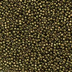50g Toho Round Seed Bead 11/0 Gold Luster Prairie Green (324)