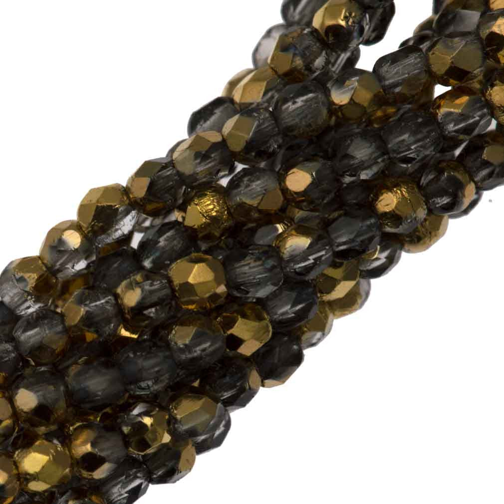 100 Czech Fire Polished 2mm Round Bead Gold 1/2 (26201)