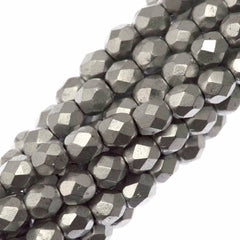 100 Czech Fire Polished 4mm Round Bead Matte Metallic Silver (01700K)