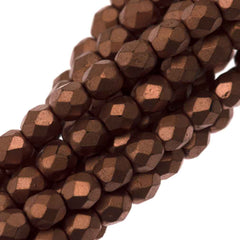 100 Czech Fire Polished 3mm Round Bead Matte Metallic Bronze Copper (01780K)