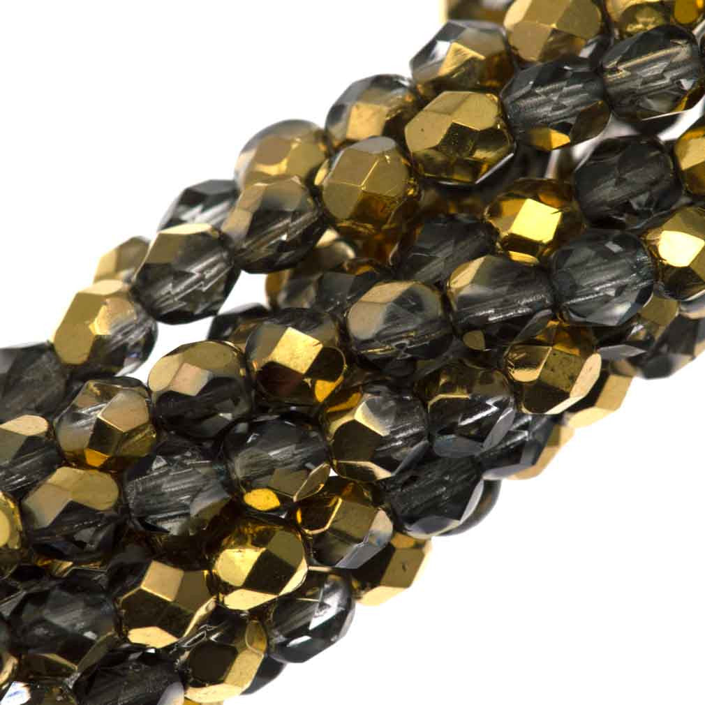 100 Czech Fire Polished 4mm Round Bead Gold 1/2 (26201)