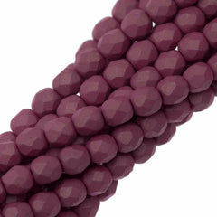 100 Czech Fire Polished 4mm Round Bead Saturated Lavender (29565)