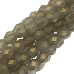 100 Czech Fire Polished 4mm Round Bead Suede Gold Black Diamond (40010MSG)