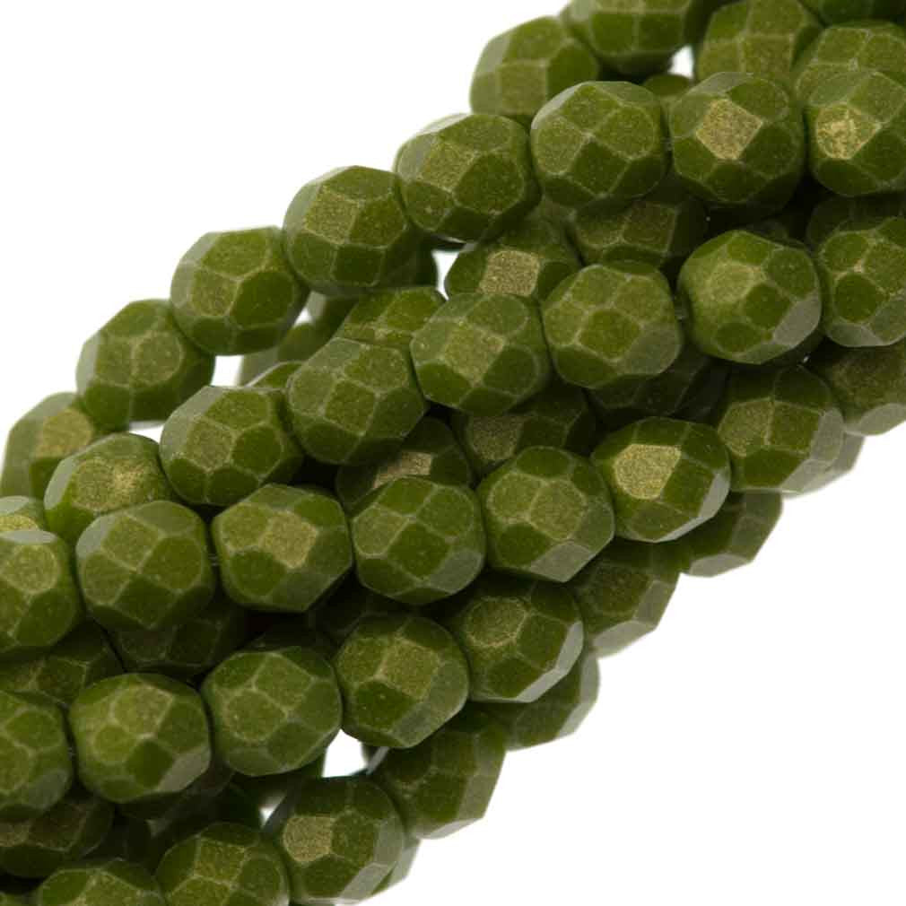 100 Czech Fire Polished 4mm Round Bead Suede Gold Olive (53420MSG)