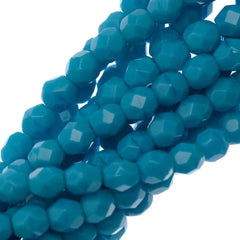100 Czech Fire Polished 4mm Round Bead Sleeping Beauty Turquoise (63900)