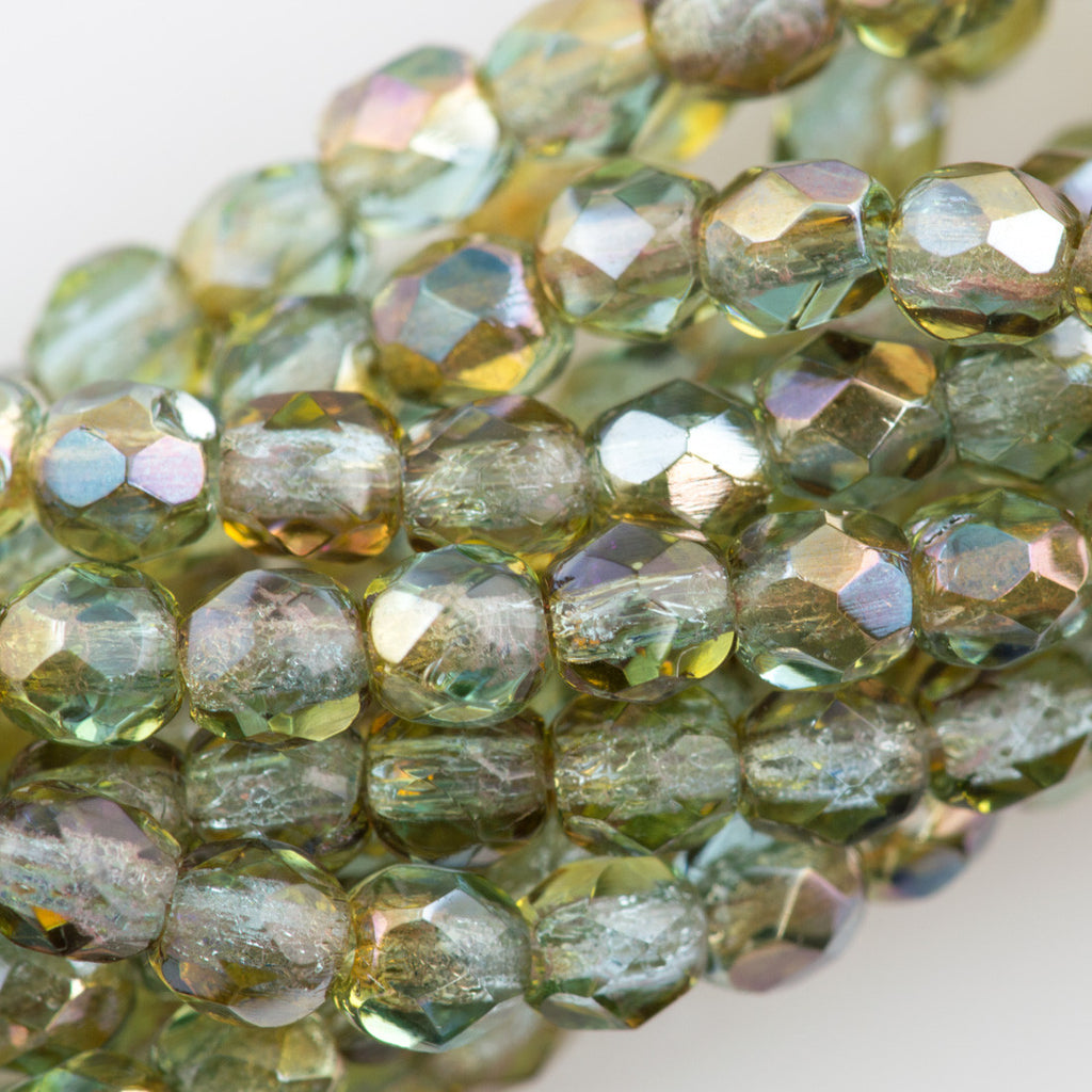Green 4mm Round Fire Polished