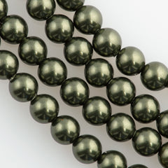 100 Swarovski 5810 4mm Round Dark Green Pearl Beads