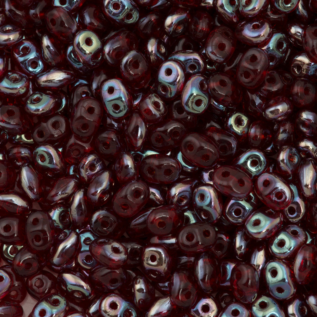 Super Duo 2x5mm Two Hole Beads Siam Ruby Celsian 22g Tube (90080Z)
