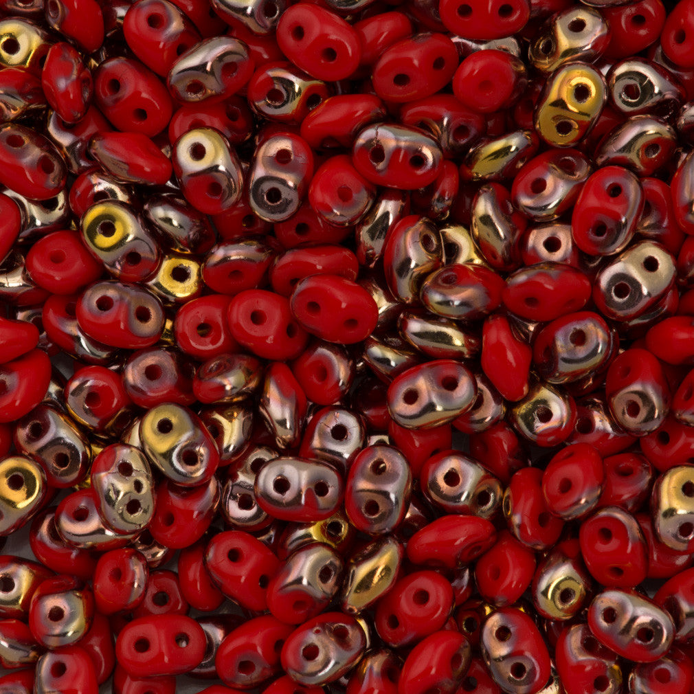 Super Duo 2x5mm Two Hole Beads Opaque Red Capri Gold 15g (93200CG)