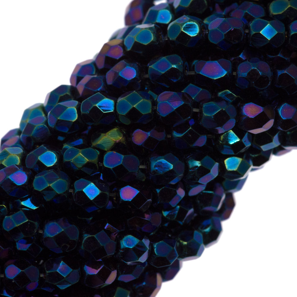 50 Czech Fire Polished 6mm Round Bead Blue Iris (21435)