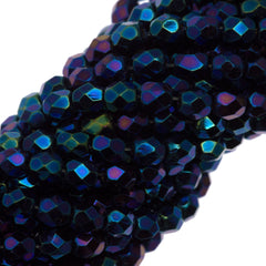 100 Czech Fire Polished 4mm Round Bead Blue Iris (21435)